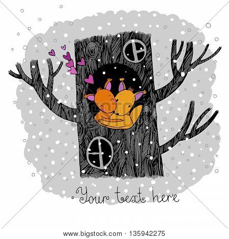 Lovers squirrel. Big beautiful tree. Winter. Hand drawing isolated objects on white background. Vector illustration.