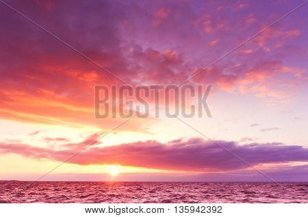 Sunset over Water Idyllic Wallpaper