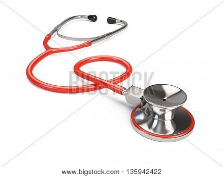 Red Stethoscope isolated on white. 3d render