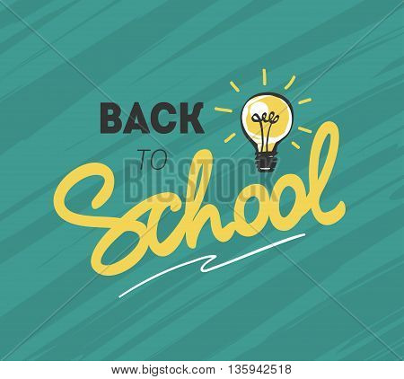 Back to school logo with light bulb. Vector illustration