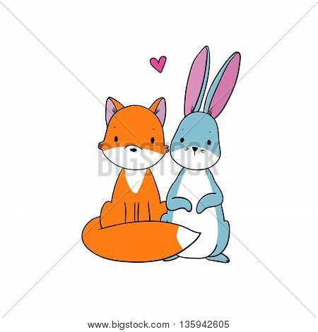The fox and the hare. Hand drawing isolated objects on white background. Vector illustration.
