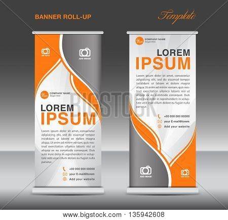 Orange and White Roll up banner stand template flyer template vector for business
