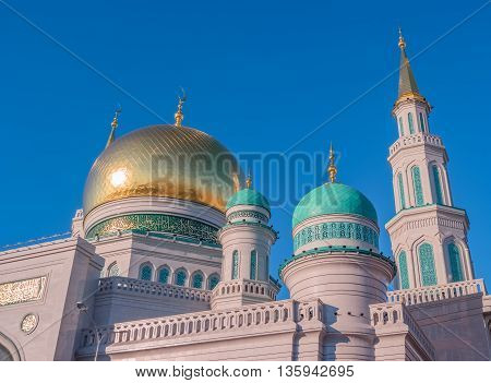 Moscow Cathedral Mosque Russia. The main mosque in Moscow one of the largest and highest mosque in Russia and in Europe.