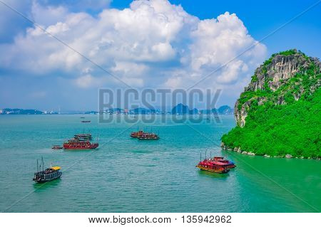 Cruise boats in Halong Bay Vietnam Southeast Asia