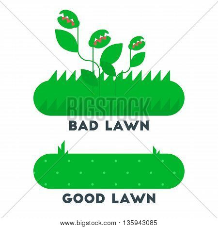 The bad and good gren grass lawn concept. vector flat design icon. Easy to edit. Cartoon style illustration.