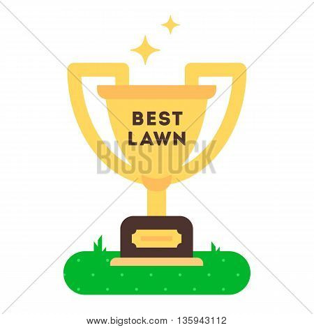 The winner cup for best green grass lawn producer. vector flat design icon. Easy to edit. Cartoon style illustration.