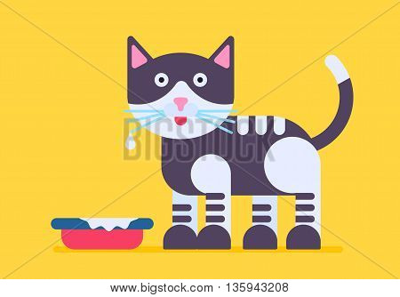 Cute and funny cat with the milk mustache standing near the bowl. Vector flat illystration isolated on a yellow background. Cool and nice poc with good colores.