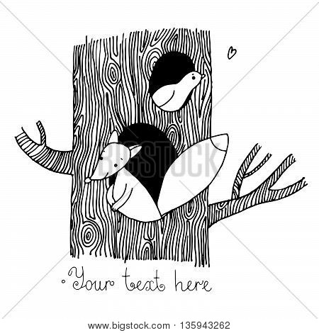 Cute cartoon fox and bird on the tree. Hand drawn vector illustration on a white background.