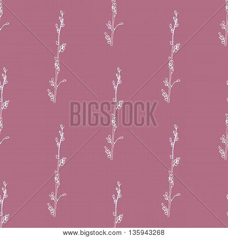 Vector seamless pattern with hand drawn floral elements. Pink botanical background.