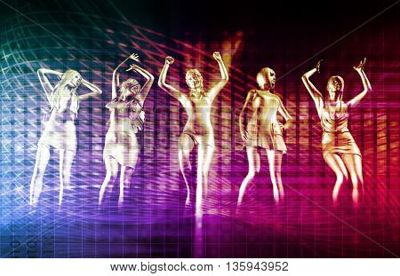 Disco Party Girls Celebrating a Special Night Out 3d Illustration Render