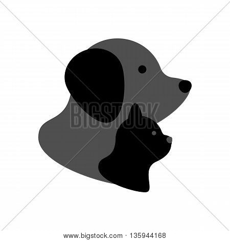 Cat and dog icon on the white background. Vector illustration