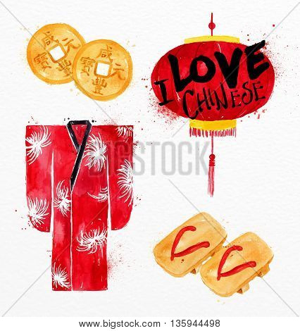 Chinese symbols feng shui Chinese coin kimono red paper lantern Chinese flip flops drawing with drops and splash on watercolor paper background