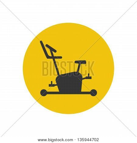 Exercise bike icon silhouette on the yellow background. Vector illustration