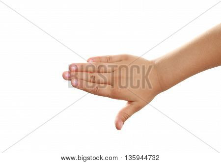 Child hand on white background, close up