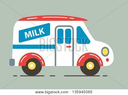 Delivery milk truck vector illustration. Flat cartoon design.