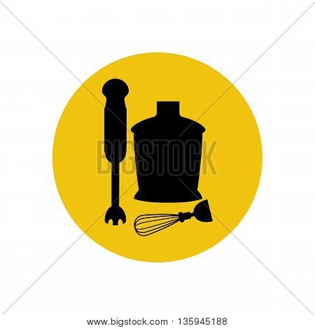Immersion blender icon silhouette on the yellow background. Vector illustration