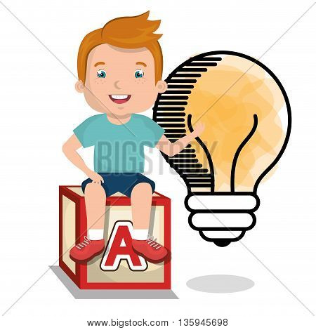 boy studying isolated icon design, vector illustration graphic