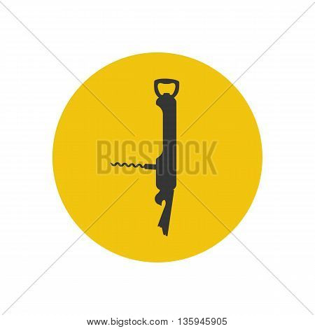Pocket multi tool silhouette on the yellow background. Vector illustration
