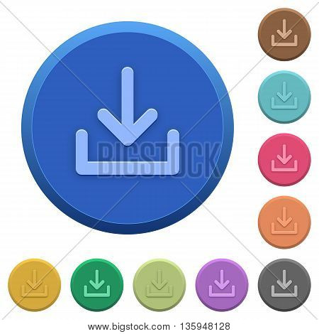 Set of round color embossed download buttons