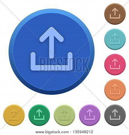 Set of round color embossed upload buttons