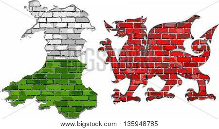 Wales map on a brick wall - Illustration, Wales map and The Red Dragon in brick style,  Grunge map and Welsh flag on a brick wall