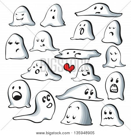 Ghost characters isolated on white background with emotions. Cartoons characters good and evil. Doddle characters for a holiday Halloween, easy to edit vector illustration.