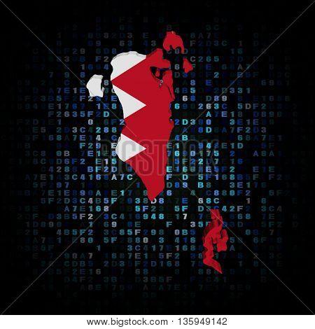 Bahrain map flag on hex code 3d illustration