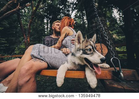 beautiful couple together with a dog resting on a swing, dog with a close angle