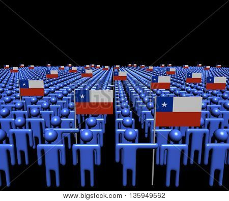 Crowd of abstract people with many Chilean flags 3d illustration