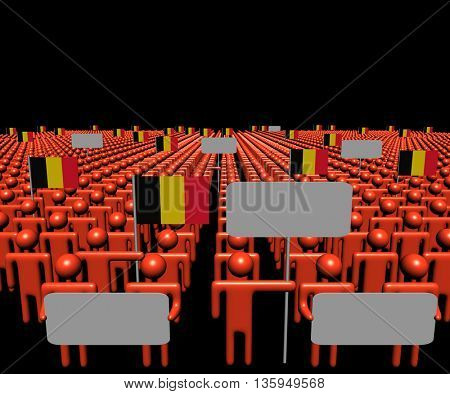 Crowd of people with signs and Belgian flags 3d illustration