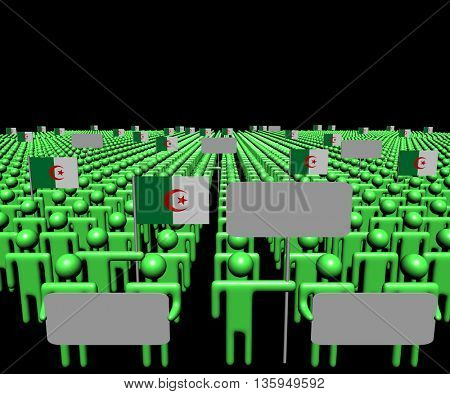 Crowd of people with signs and Algerian flags 3d illustration