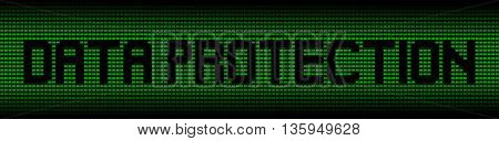 Data protection text on green laptops background illustration