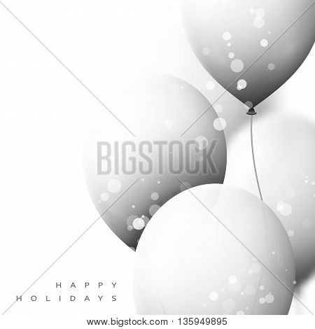 White Balloons background for holiday cards. Realistic balls for decor. Festive scenery. Vector illustration, white balls with Happy Holidays