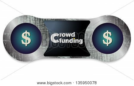 Two scratched metal frames and the words crowd funding