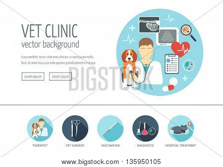 Veterinary clinic web design concept for website and landing page. Web banner. Flat design. Vector illustration
