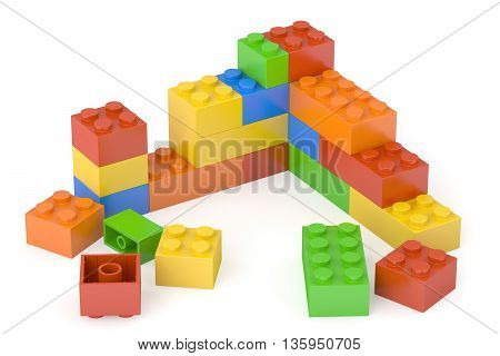 Plastic building blocks 3D rendering isolated on white background