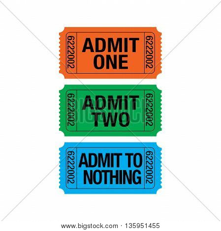 Three whimsical tickets withlots of various meanings