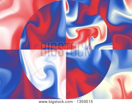 Us Flag Colors On Silk Background - Digital Illustration