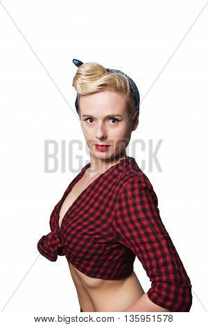 portrait of a pin up woman with colorful clothing and makeup isolated on a white background