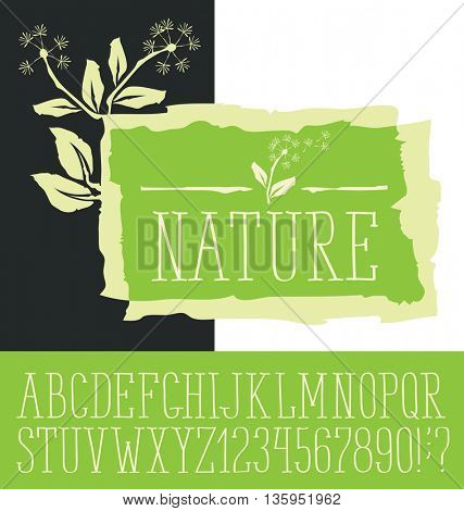 Vector logo with hand made font. With inscription Nature