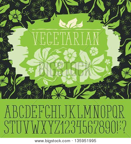 Vector logo with hand made font. With inscription Vegetarian
