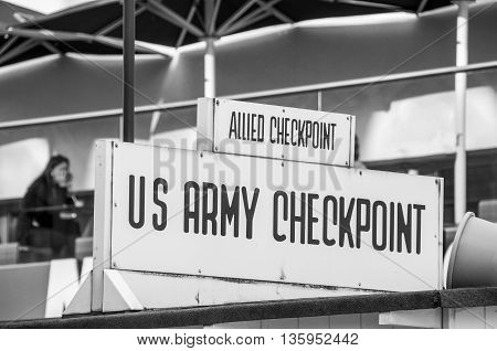 US Army - allied forces Checkpoint sign
