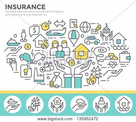 Insurance concept illustration, thin line flat design