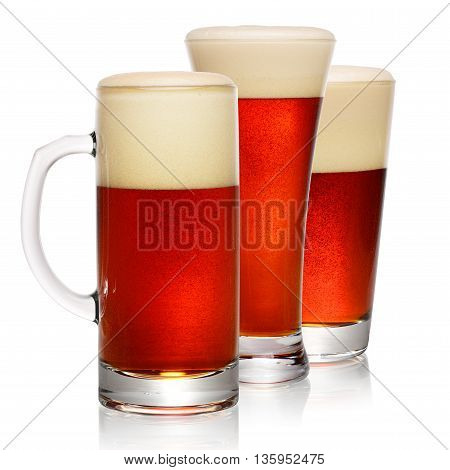 Glasses Of Dark Beer On White