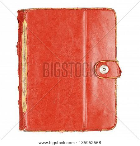 Brown used leather tablet computer case isolated on a white background. With clipping path