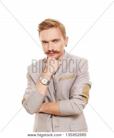 Thoughtful, pensive man isolated at white. Young man doubtful, solving problem. Caucasian male person thinking. Serious stylish guy with mustache consider some idea, search solution.