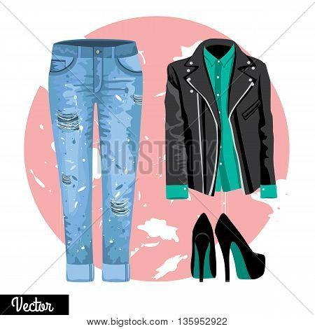 Illustration stylish and trendy clothing. Leather jacket, blouse, shirt, sunglasses, high-heeled shoes. Hipsters and casual fashion vector Illustration