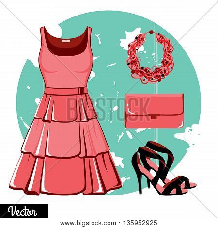 Illustration stylish and trendy clothing. Pink evening dress, clutch bag, accessories, high-heeled shoes, sandals. Fashion vector illustration. Cocktail dress, classical dress
