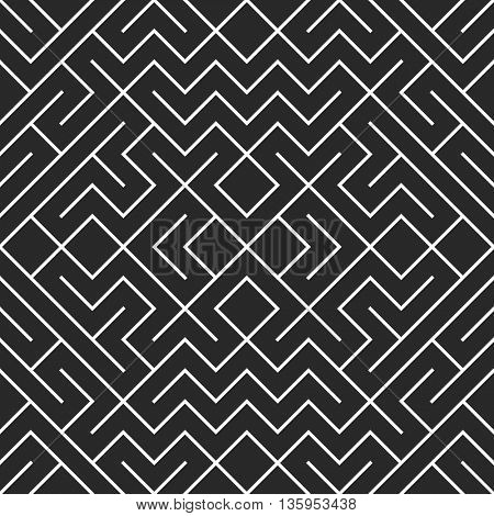 Seamless geometric pattern in pop art design. Vector crossing maze straight lines pattern. Modern stylish texture. Repeating geometric tiles with hexagonal elements.