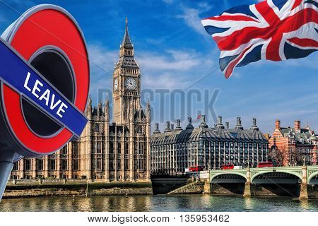 Britain Votes To Leave European Union, Big Ben With Flag Of United Kingdom In London, England